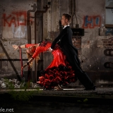 ballroom dancers in a old roundhouse