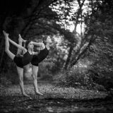 child gymnasts in the wood